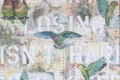 """Lovebirds and Paper Trails, Mixed Media, 20"""" x 2"""" x 20"""""""