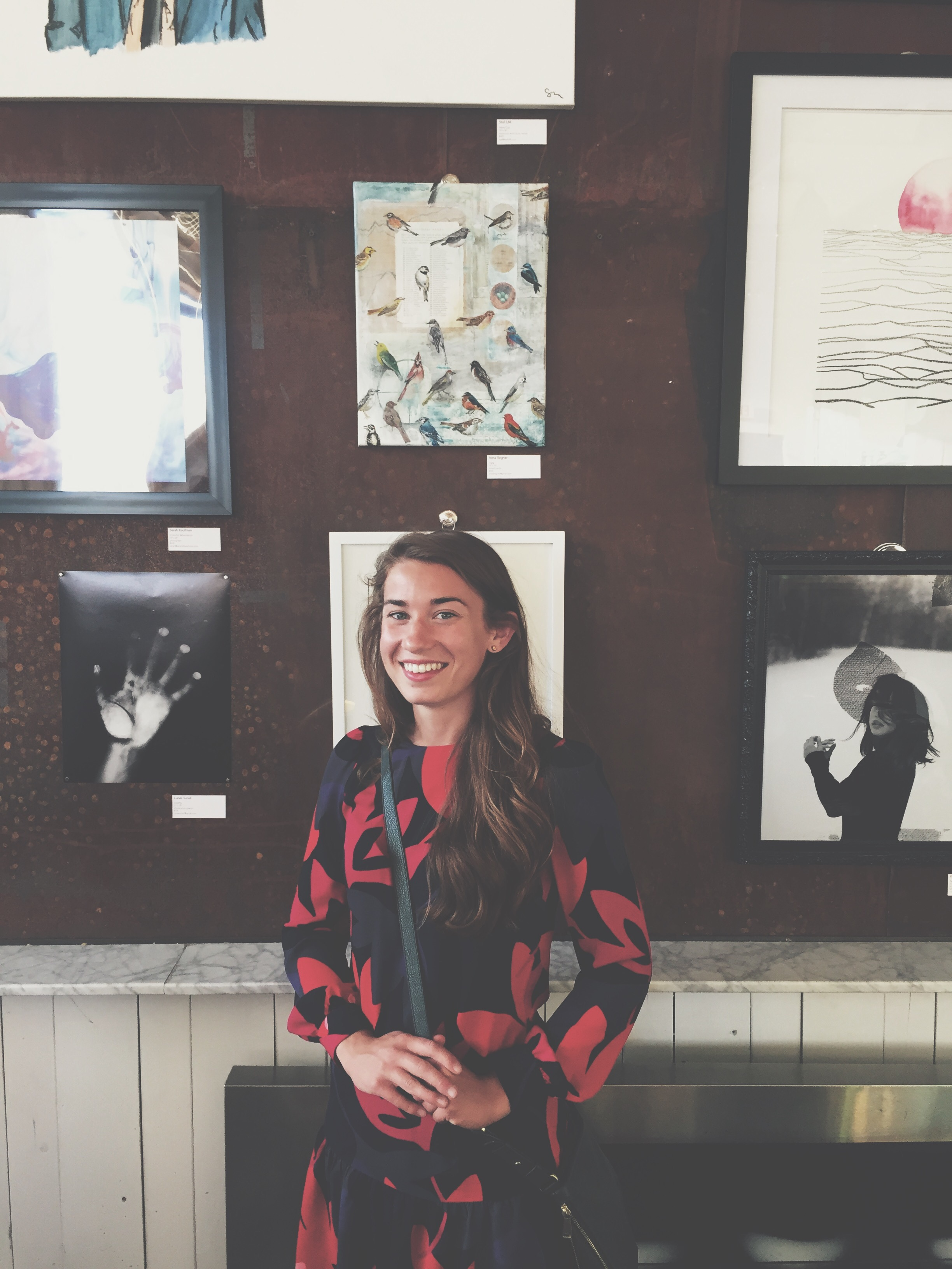 Photo of me at juried group show at Norseman Distillery in Minneapolis.