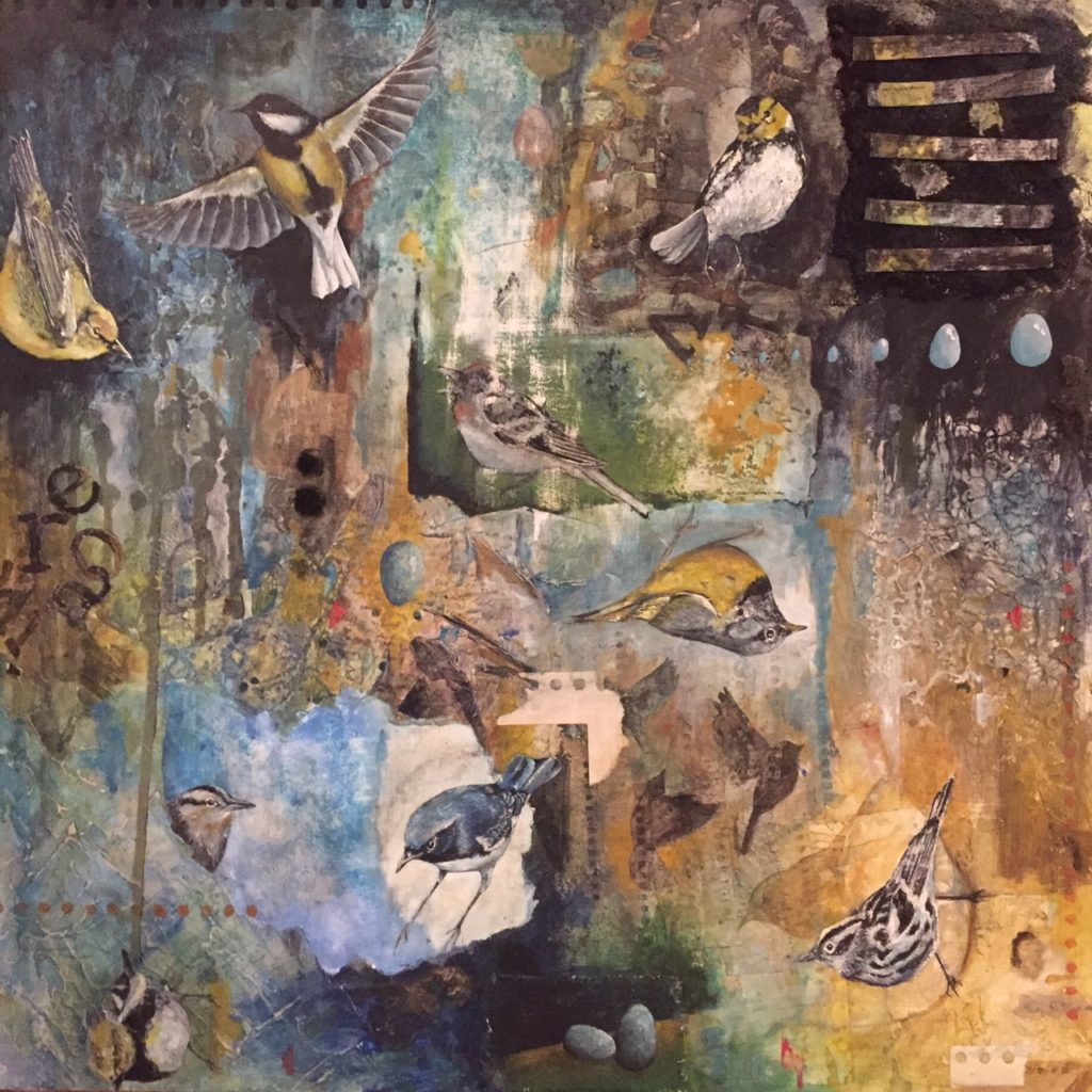 "Which Way, Warbler? Mixed Media, 24"" x 24"""