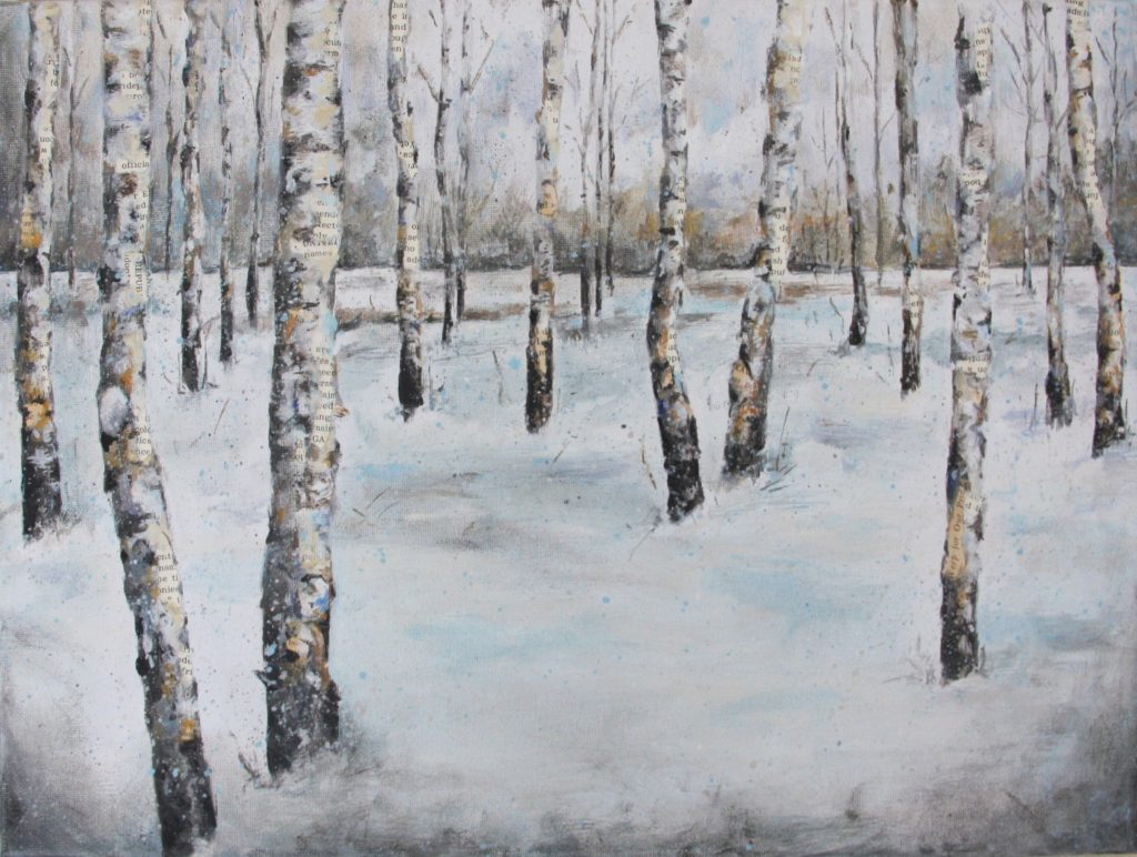 "Winter Winds and Paper Birch, Mixed Media, 16"" x 1"" x 12"""