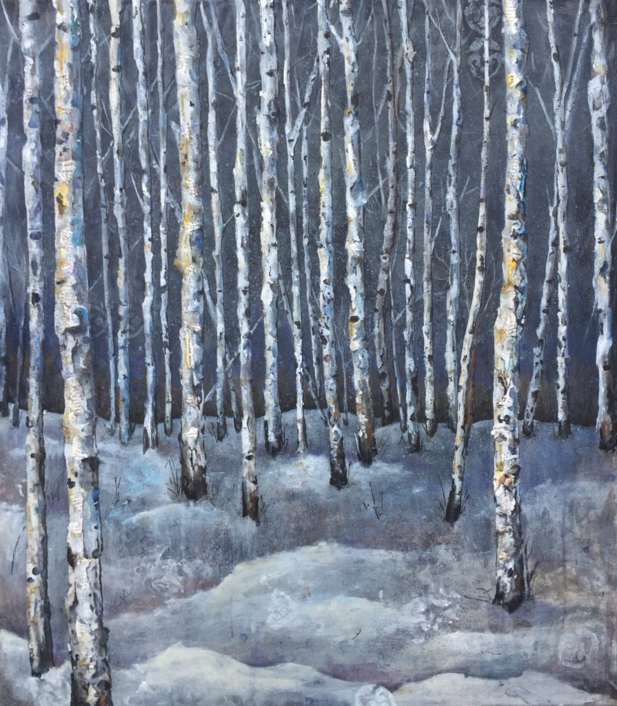 "Boundary Waters Winter, Mixed Media, 28"" x 2"" x 32"""